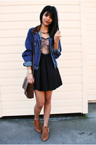 blue LEI jacket - tawny Aldo boots - bronze sequin beginning boutique dress