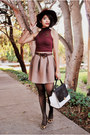 Maroon-h-m-hat-white-mimi-boutique-bag-tan-filthy-magic-skirt