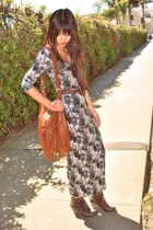 charcoal gray maxi H&M dress - light brown fringe H&M bag - dark brown thrifted