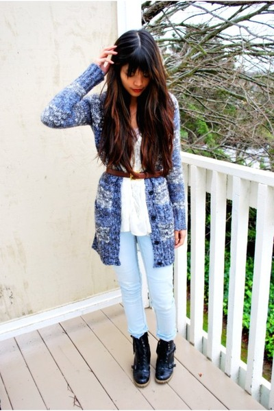 sky blue Urban Outfitters cardigan - black Urban Outfitters boots