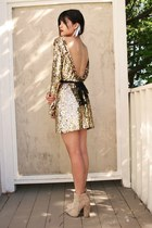 gold Disco Pony dress - tan ames suede asos boots