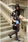 Black-vintage-blouse-blue-blue-asphalt-shorts-brown-unknown-stockings-blac