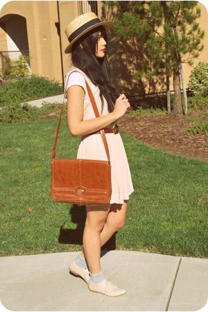 heather gray oxfords Forever 21 shoes - light pink Urban Outfitters dress - tan