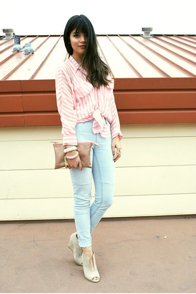 light pink striped sheer lulus top - light blue high-waisted H&M jeans