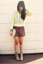 tan Aldo boots - yellow neon Urban Outfitters sweater