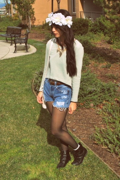 black oxford Forever 21 boots - light blue Urban Outfitters shorts - white flora