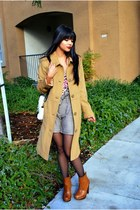 light brown wool H&M shorts - tawny clog Bakers boots - camel merona coat