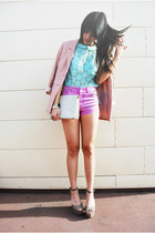 light purple nectar clothing shorts - light pink H&M blazer