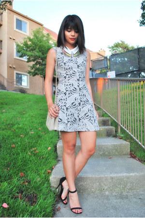 silver t  J designs necklace - heather gray lace H&M dress