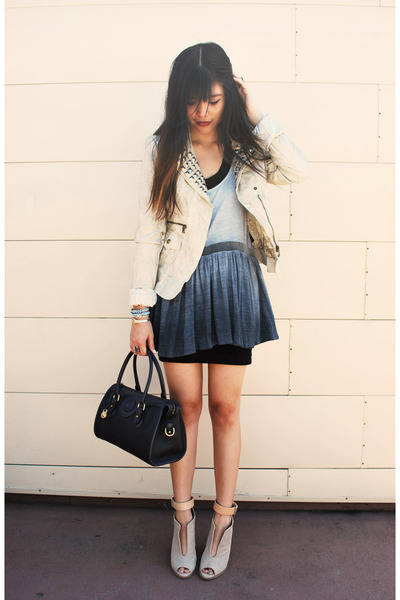 light blue ombre Style Stalker dress - ivory diy studded Guess jacket