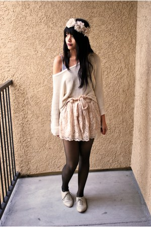 light pink lace H&M shorts - ivory oxfords Forever 21 shoes