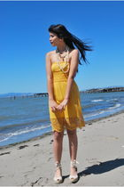 yellow Forever 21 dress - beige No Boundaries shoes - white courtesy of mom acce