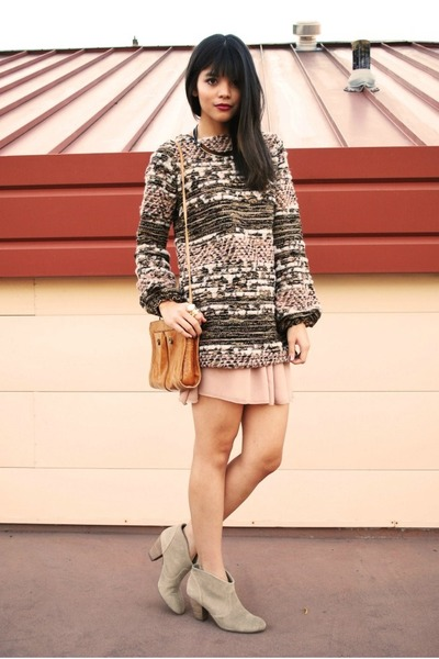 light pink knit sparkle Zara sweater - tan marks Report boots