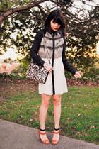 tawny sandal Zara heels - ivory lace raglan Alyssa Nicole dress