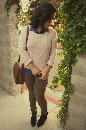 peach thrifted sweater - brown mossimo supply co bag