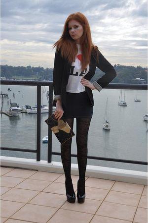 bardot blazer - black Noir tights - Ksubi skirt - LA top