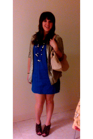 blue Old Navyl dress - silver H&M cardigan - H&M necklace - pink Aldo purse - bl