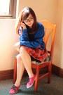 Blue-paddington-bear-paddington-bear-sweater-carrot-orange-plaid-tartan-skirt