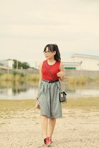 black gingham skirt - ruby red knitted blouse