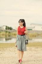 black gingham skirt - ruby red knitted blouse
