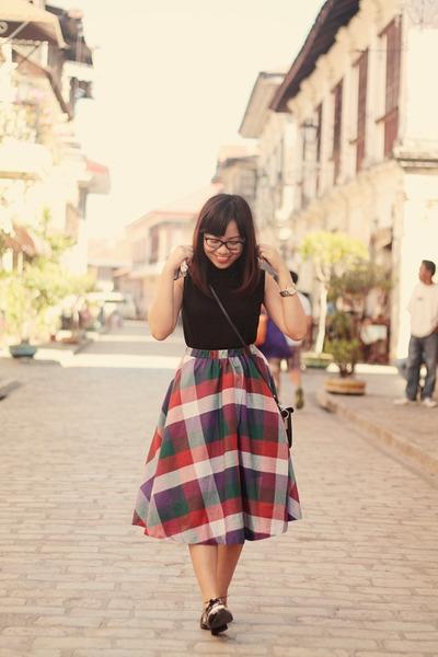 brick red full midi skirt thrifted vintage skirt