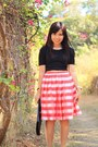 Black-envelope-clutch-lanvin-bag-red-stripes-skirt