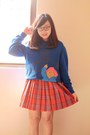 Blue-paddington-bear-paddington-bear-sweater-carrot-orange-plaid-tartan-skirt