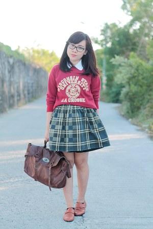ruby red varsity thrifted vintage sweater - dark brown Lovelyshoesnet bag