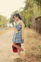 blue plaid tartan dress - light yellow knitted sweater