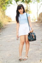 sky blue blouse - Lisa Loren bag - white high waist Excursion shorts