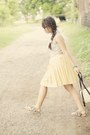 Silver-fringed-sandals-yellow-pleated-skirt-periwinkle-opa-blouse