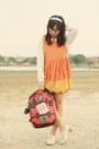 Orange-dress-beige-oxfords-heels