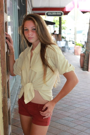 brick red shorts - light yellow vintage blouse - delias flats