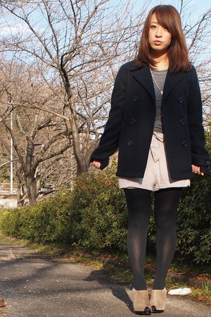 tan Nine West boots - navy ray cassin coat - heather gray Forever21 sweater - eg