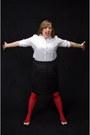 Red-monoprix-tights-white-gap-shirt-black-houndstooth-mossimo-skirt