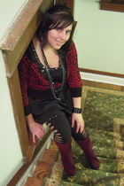 maroon Ana boots - black Soho dress - black rip detail Victorias Secret leggings