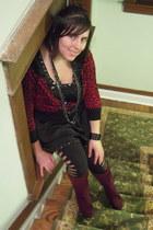 maroon Ana boots - black Soho dress - black rip detail Victorias Secret leggings