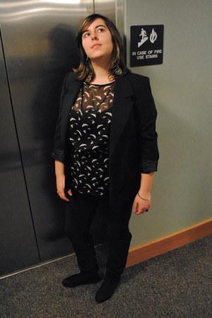 silver DIY earrings - black knee-high boots - black corduroy HUE leggings