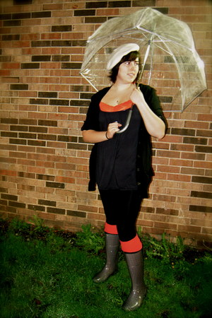 black kamik boots - black Betsey Johnson leggings - red lace cami Old Navy shirt