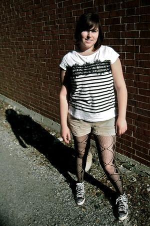 black diamond fishnet American Apparel tights - tan Old Navy shorts - black high