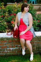 red Mossimo dress - brick red HoBo International bag - navy striped vest