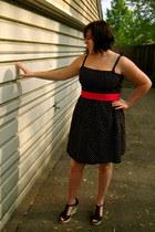 black polka dot Forever 21 dress - black wedge Steve Madden sandals - red ribbon