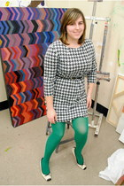 black houndstooth H&M dress - green American Apparel tights