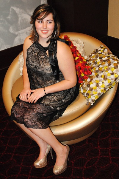 ivory I am earrings - lace overlay Vero Moda dress - cocktail Macys ring