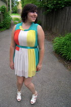 white wedge big buddah sandals - teal color blocked Runway Design dress