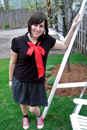 black polka dotted Forever 21 dress - black polo faded glory shirt - red Convers