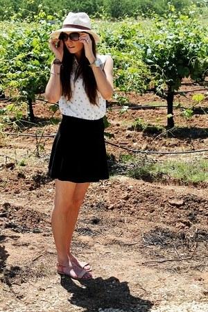 black skirt - Forever 21 hat - Forever 21 sandals