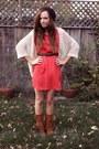 Brown-fringe-moccasin-minnetonka-boots-red-riffraff-dress