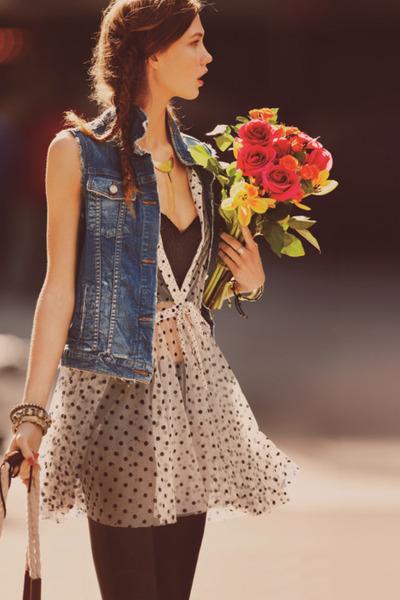 black vest H&M vest - light pink poka dots Zara dress - sky blue Topshop jacket