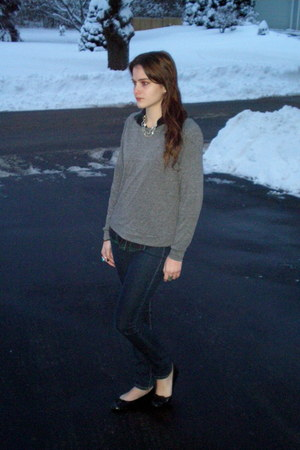 navy Forever 21 jeans - heather gray Forever 21 sweater - black Ralph Lauren fla
